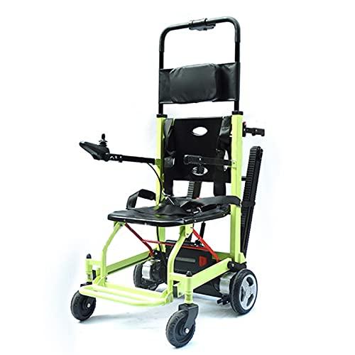 FBKPHSS Escalar y Subir Escaleras, Silla de Ruedas para Subir con Orugas 160 kg de Carga para Ancianos y Discapacitados Plegable Silla Auxiliar De Escalera,Verde