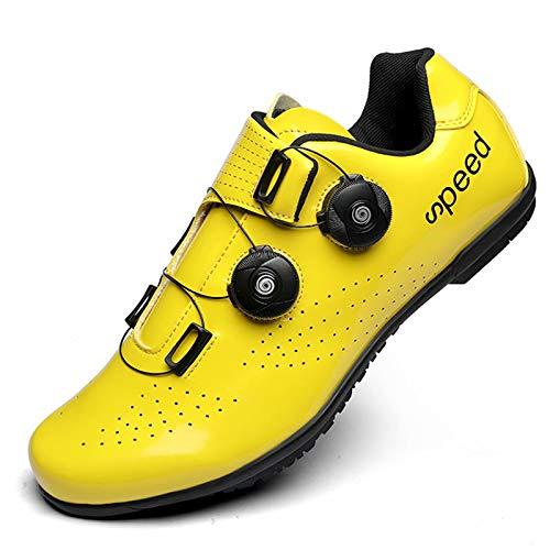 MJ-Brand Zapatillas de Ciclismo para Hombres y Mujeres - Zapatillas de Bicicleta de Carretera y montaña de Fibra de Carbono Antideslizantes y Resistentes al Desgaste con Botones giratorios