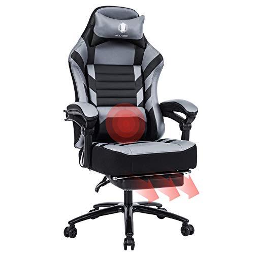KILLABEE großer Memory Foam Gaming Stuhl - Einziehbare Fußstütze Ergonomische aus Leder Exklusiver Computer-Schreibtisch Bürostuhl mit Metallsockel