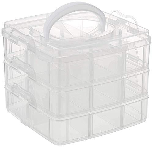 Rayher 3918100 Sortierbox mit Tragegriff, 15,5 x 15,5 x 12,9 cm, 3x6 Fächer, ideal für Schmuck- und Scrapbookingzubehör, drei Etagen, platzsparend, übersichtlich