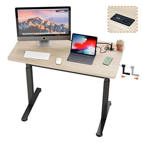 "Bestier Crank Stand Up Desk with USB Ports and Outlet 47.7""Ergonomic Rustic Wooden Desk,Height Adjustable Standing Workstation with Folded Handle Socket for Home Office Study"