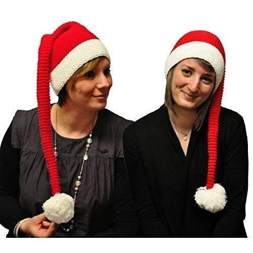 Lively Moments Lustige Natale/Costume Natale/Berretto Lavorato a Maglia con Lungo Bommel/Cappello Babbo Natale