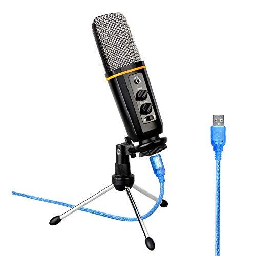 BLKykll Plug-and-play-microfoon, USB-microfoon, voor gamecomputer, met geluidskaart, bevat: microfoon, audiokleiding, schokbestendig, klein statief