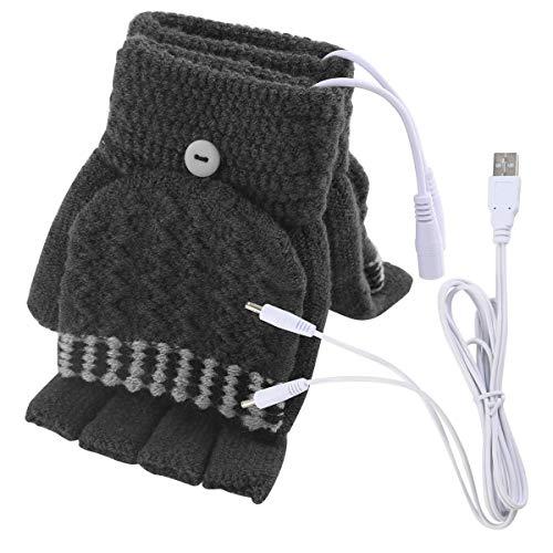 Women's & Men's USB Heated Gloves Mitten Winter Hands Warm Laptop Gloves,Winmany Full & Half Heated Fingerless Heating Knitting Hands Warmer (Grey)
