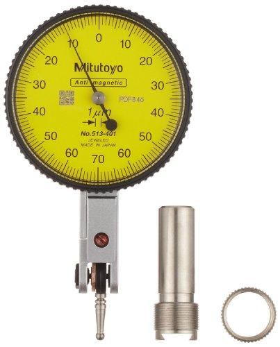 Mitutoyo 513-401E Dial Test Indicator, Basic Set, Horizontal Type, 8mm Stem Dia., Yellow Dial, 0-70-0 Reading, 40mm Dial Dia., 0-0.14mm Range, 0.001mm Graduation, +/-0.003mm Accuracy