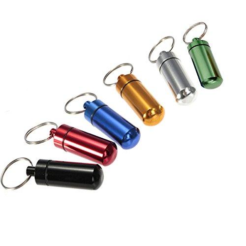 Lot de 6 mini Coque en aluminium étanche Boîte à pilules pilule Médicament Support Bouteille Récipient keychian porte-clé pour Voyage Camping Extérieur Couleur aléatoire