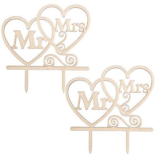 metagio 2 Stück Kuchendekoration, Kuchendeckel Hochzeit Kuchen Topper Cake Topper Kuchendekoration, Mr & Mrs Torten Hochzeitsdeko Wedding Hochzeitstorten Dekoration