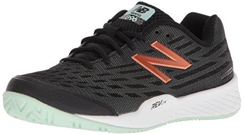 New Balance Women's 896 V2 Hard Court Tennis Shoe, Black/Seafoam, 11 D US