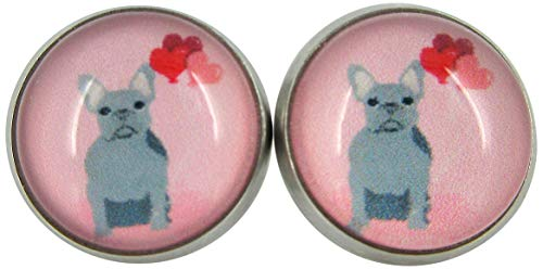 Stainless Steel Pink Gray French Bulldog Hearts Print Glass Stud Earrings 12mm