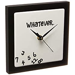 Enesco Whatever. Scrambled Numbers Always Late 7.5 x 7.5 Inch Square Hanging Wall Clock