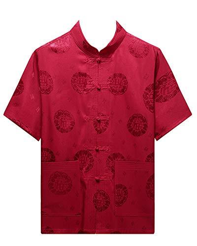 Hombres Manga Corta Chino Estilo Tradicional Camisa de Tai Chi + Pantalones Uniforme Tang de Traje Rojo Pantalones 3XL