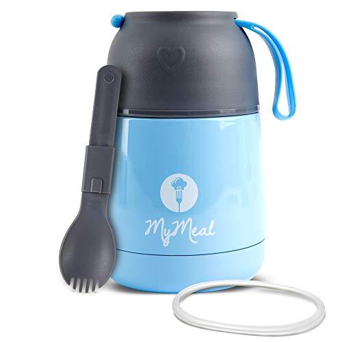 MyMeal Thermobehälter für Essen 450ml, Warmhaltebehälter Essen, Thermo Lunchbox, Thermobecher Essen, Thermobecher Babybrei, Edelstahl mit Löffel & GRATIS Ersatzdichtung,100% Auslaufsicher(blau)