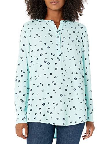 Amazon Essentials Long-sleeve Woven Blouse dress-shirts, Aqua Poppy, US XXL (EU 3XL-4XL)