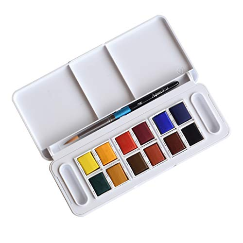 Daler-Rowney Aquafine 12 Half Pan Travel Watercolor Set, Assorted Colors