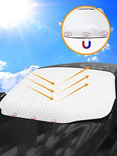 Tevlaphee Parasol Coche Delantero, Parasoles Coche, Parasol Delantero Coche, Magnético, Plegable,Protege de Rayos UV,Antihielo y Nieve,Apto a la Mayoría de Coches y Suvs 193*157*126CM