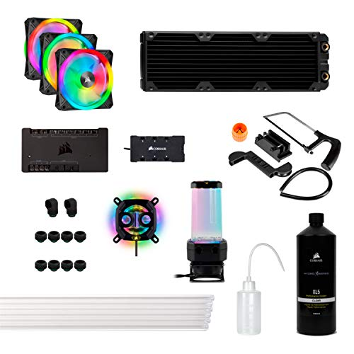Corsair Hydro X Series iCUE XH305i RGB Kit de Refrigeración Personalizada XC7 RGB (115X/AM4), XD5 Pack de Bomba/Depósito, XL5 Refrigerante, XR5 Radiador, 3 x QL120 RGB Ventilado, Negro