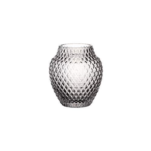 Leonardo Poesia Tisch-Vase, handgefertigte Deko-Vase in Grau, bauchige Blumen-Vase, Kerzen-Halter aus Glas, schönes Windlicht, 11 cm hoch, 018669
