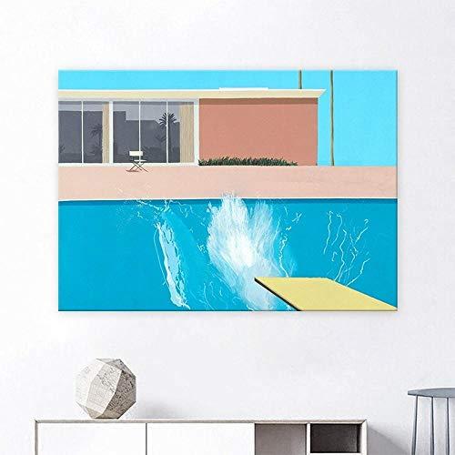 YWOHP Pequeño Azul Fresco Piscina ilustración Lienzo Pintura Simple Porche casero Arte de la Pared Pintura Cuadro decoración Mural Pintura 40x60 cm