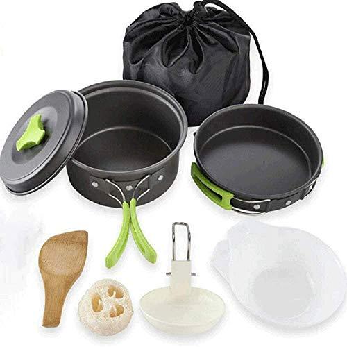 Camping Cookware Set, Non-stick Pan, Lightweight and Stackable Cooking Camping Cookware Set/portable Combo Cookware Set/picnic Camping Cookware Set (green)