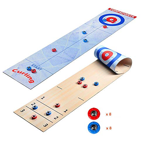 Table Top Curling Game Roll 2 in 1 Mini Shuffleboard & Curling Games Voor Kinderen En Volwassenen