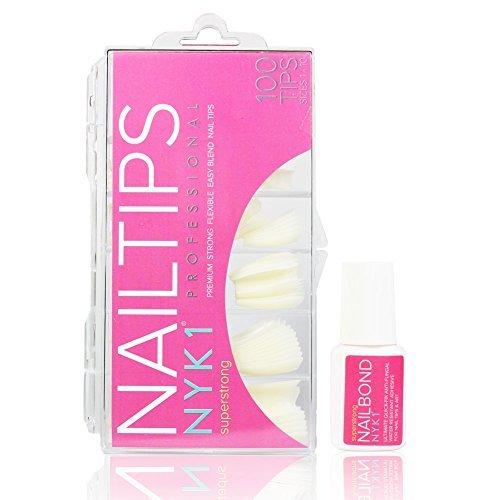 NYK1professionale naturale o bianco francese acrilico nail tips false artificiale prolunga flessibile Salon Quality for us con tutti i sistemi di gel per unghie con colla