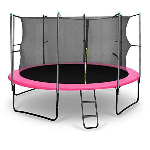 Klarfit Rocketgirl 366 Cama elástica trampolin con Red de Seguridad (Superficie Base 366cm diametro, sujecion 4 Patas Doble, Varillas de sujecion Acolchadas, Lona Resistente a los Rayos UV, Protector