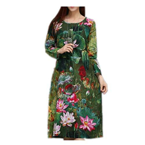 SPNEC UEGO Plus TAMAÑO M-XXL Estampado Vintage Suelto Otoño Vestido de otoño Vestido de Primavera Vestido de algodón Ropa de algodón Moda Midi Vestido