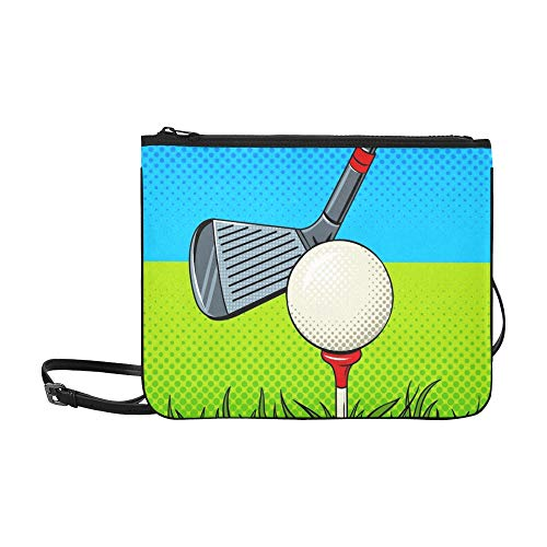 Putter Golf Ball Pop Art Style Benutzerdefinierte hochwertige Nylon Slim Clutch Cross Body Bag Schultertasche