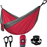 Camping Hammock for Travel, Hiking, Backpacking or Backyard - Single Outdoor Hammock - Portable & Lightweight Yet Heavy Duty Parachute Fabric - Tree Hanging Straps Included - Easy Setup and Foldable