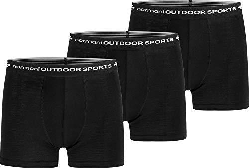 normani Outdoor Sports 3er Pack Merinounterhose Boxershorts 100% MERINOWOLLE - Atmungsaktive, Antibakterielle, Geruchshemmende Unterwäsche Größe XXL