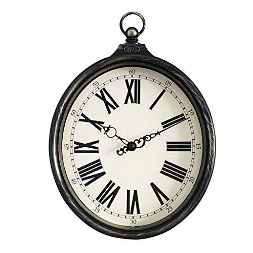 8-inch country américain rétro vieux imitation fer forgé anneau ovale horloge murale horloge salon chambre à coucher horloge à quartz