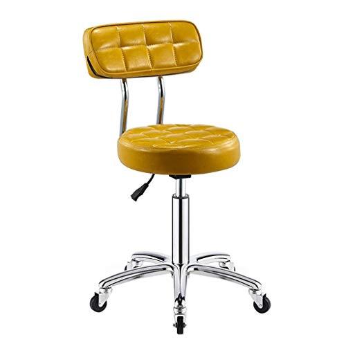 WWW-DENG barkruk met wieltjes en comfortabele stoel, verstelbaar, zitbank, hydraulische schoonheid, PU-leer, 13 inch, groot zitkussen, barkruk