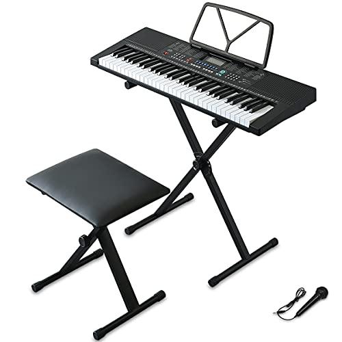 RiZKiZ 電子キーボード 【61鍵盤】 & キーボードスタンド & 折りたたみチェア 350種類の楽器音色 リズム 61種類のキーボードパーカッション マイク付 LCDディスプレイ 自動伴奏 録音 レコーディング ピアノ 練習 趣味