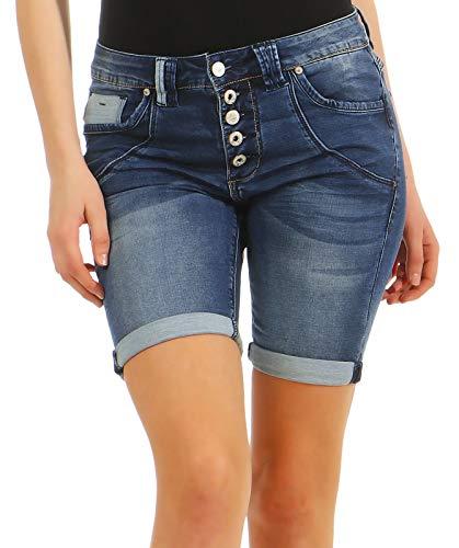 Urban Surface Damen Joggshorts LUS-137 Jeans-Optik sichtbare Knopfleiste Dark Blue S