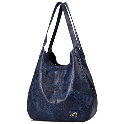 【3 compartments】 This handbag has 3 compartment which can hold your daiy items and keep your stuff organized perfectly. 【Material】 This Hobo bag is made of good quality retro Faux leather. Comfortable and durable. 【Multiple Pocket】2 big pockets(magne...