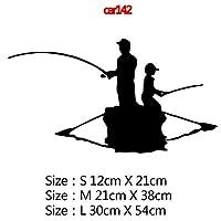 カースタイリングカーウィンドウビニール接着剤ステッカー、色名におかしい囲碁釣りや鯉ハンターカーステッカーステッカー3Dカースタイリング装飾:11、サイズ:12CM、スタイル:8 - シルバー (Color : 8, Size : 12CM)