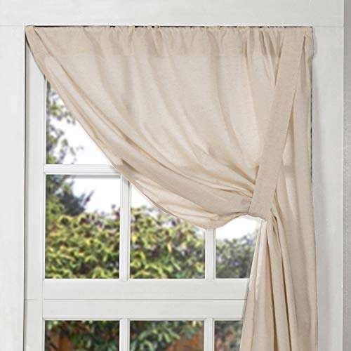 Olivia Tie Up Panel Curtain, 63' Long, Natural Cream Linen/Cotton Kitchen or Bedroom Curtains, Boho, Modern Country, Vintage Cottage, Farmhouse Style