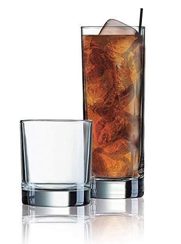 Elegant Drinking Glasses Set of 16, Heavy Base Durable Glass Cups - 8 Cooler Glasses (16oz) and 8 DOF Glasses (10oz), 16-piece Glassware Set