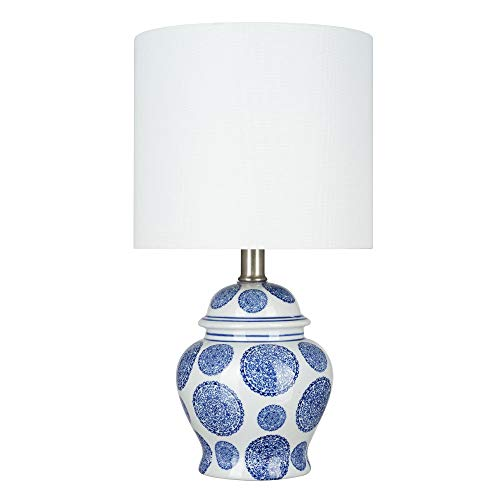 Amazon Brand – Ravenna Home Traditional Chinoiserie Ceramic Table Lamp, LED Bulb Included, 15'H, Blue Circle