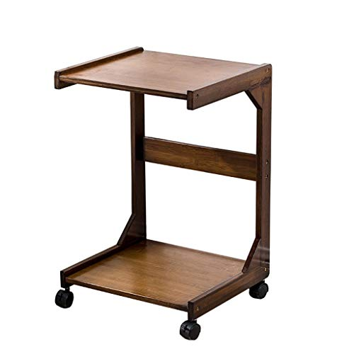 Bamboo Printer Rack Mobile Printer Table Office Projector and Fax Rack, Home Bedroom Bedside Sofa Tea Set Shelf 41.5×37.5×63cm(Brown)