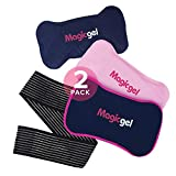 2 x Reusable Ice Packs for Injuries with Adjustable Wrap-Around Strap | Soft Gel Ice Pack Set for Pain Relief | Dual Hot and Cold Pack Kit for the Back, Neck, Ankle, Knee, Hip, Arm, & More (Magic Gel)
