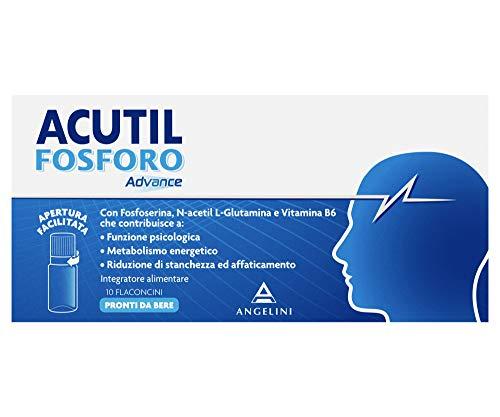 Acutil Fosforo Advance, Integratore Alimentare a Base di L-asparagina, Fosfoserina, N-acetil L-glutamina, e Vitamina B6. 10 Flaconcini Pronti da Bere