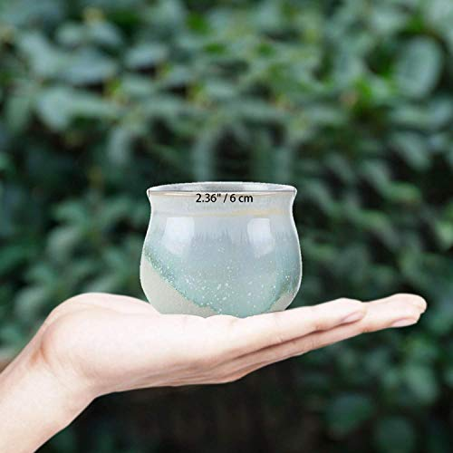 T4U 6CM 陶器鉢 流れ釉 3シェイプ セット 黒&白底 植木鉢 多肉植物 サボテン鉢、花鉢 容器 ミ二植木鉢 6個入り