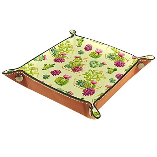 MUMIMI Organizador de joyas para plato, para decoración del hogar, para cumpleaños, boda, día de la madre, cactus verde con diamante geométrico floral