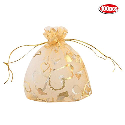 Mumusuki 100 stuks net-zakjes voor bruiloften, feestcadeauzakjes, snoepjes, zakjes met trekkoord, 5 kleuren