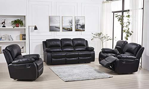 Betsy Furniture 3PC Bonded Leather Recliner Set Living Room Set, Sofa, Loveseat, Chair 8018 (Black, Living Room Set 3+2+1)