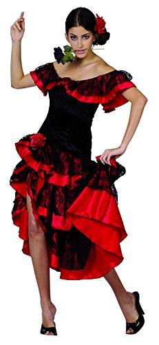 Costume danzatrice di flamenco donna rossa e nera Small