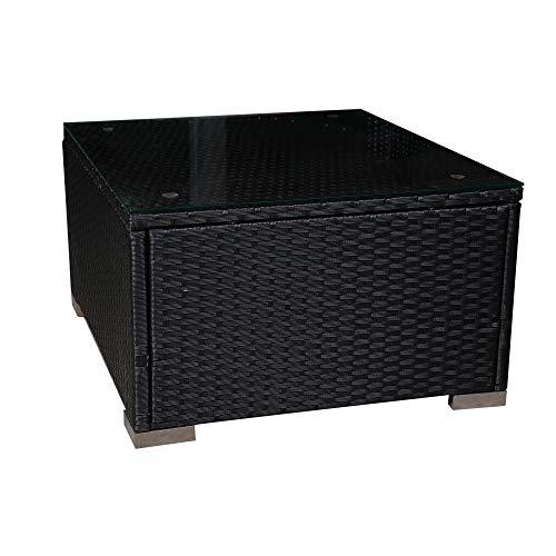 Mcombo Outdoor Patio Rattan Wicker Sofa Black Coffee Table Garden Sectional Set with Desk 6082-5005ST-BK