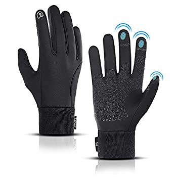 LERWAY Winter Warm Gloves Thermal Black Warm Gloves for Men Women Waterproof Touchscreen Non-Slip Gloves for Driving Cycling M