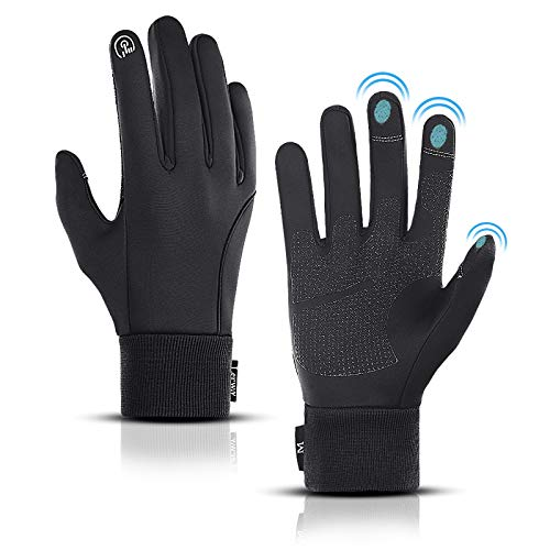 LERWAY Winter Warm Gloves, Thermal Black Warm Gloves for Men Women Waterproof Touchscreen Non-Slip Gloves for Driving, Cycling(S)